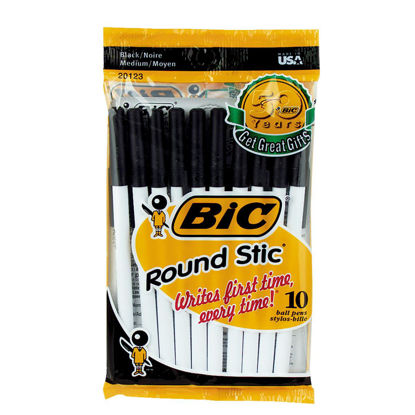 Picture of Bic Round Stic Medium Point Black Ball Pen (10-Pack)