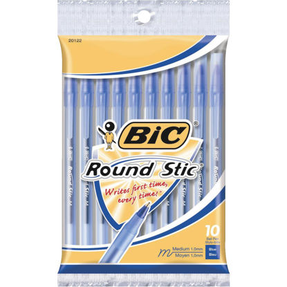 Picture of Bic Round Stic Medium Point Blue Ball Pen (10-Pack)