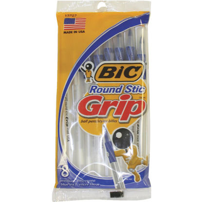 Picture of Bic Round Stic Grip Medium Point Blue Pen (8-Pack)