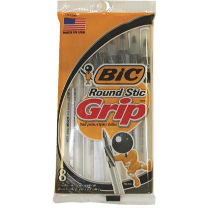 Picture of Bic Round Stic Grip Medium Point Black Pen (8-Pack)