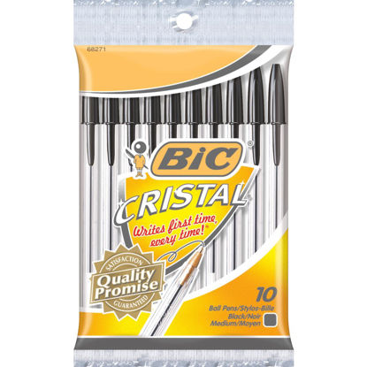 Picture of Bic Cristal Medium Point Black Ball Pen (10-Pack)