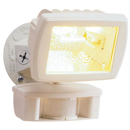 Picture of Designers Edge White Motion Sensing Dusk To Dawn Halogen Floodlight Fixture