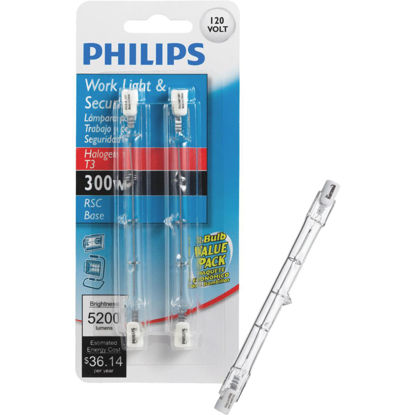 Picture of Philips 300W 120V Clear RSC Base T3 Work Light Bulb (2-Pack)