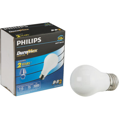 Picture of Philips DuraMax 15W Frosted Medium A15 Incandescent Appliance Light Bulb (2-Pack)