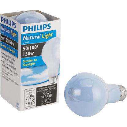 Picture of Philips 50/100/150W Frosted Natural Light Medium Base A21 Incandescent 3-Way Light Bulb