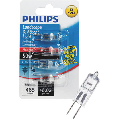 Picture of Philips 50W 12V Clear GY6.35 Base T4 Halogen Special Purpose Light Bulb (4-Pack)