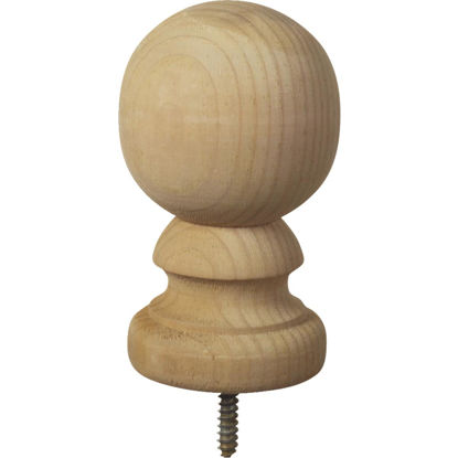 Picture of ProWood 3-9/16 In. x 5-3/8 In. Treated Wood Ball Top Natural Post Cap