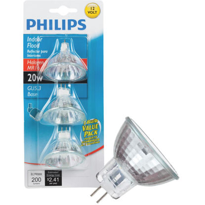 Picture of Philips 35W Equivalent Clear GU5.3 Base MR16 Halogen Floodlight Light Bulb (3-Pack)