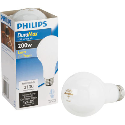 Picture of Philips DuraMax 200W Frosted Soft White Medium A21 Incandescent Light Bulb