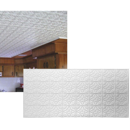 Picture of Dimensions 2 Ft. x 4 Ft. White 6 In. Circle/Square Pattern Tin Look Nonsuspended Ceiling Tile & Backsplash