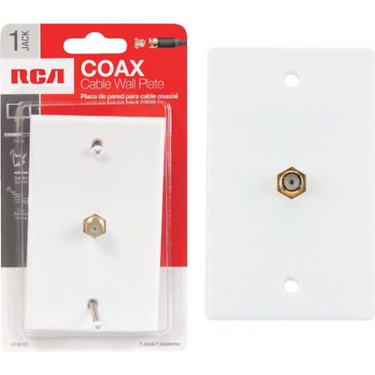 Picture of RCA White Single F-Connector Coaxial Wall Plate