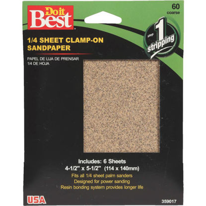 Picture of Do it Best 60 Grit 1/4 Sheet Sandpaper (6-Pack)