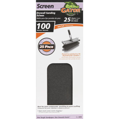 Picture of Gator Grit 100 Grit 4-3/8 In. x 11 In. Precut Drywall Sanding Screen (25-Pack)