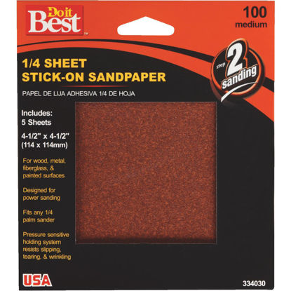 Picture of Do it Best Stick-On 100 Grit 1/4 Sheet Sandpaper (5-Pack)