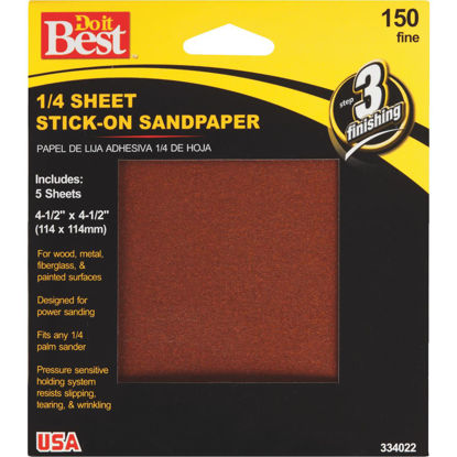 Picture of Do it Best Stick-On 150 Grit 1/4 Sheet Sandpaper (5-Pack)