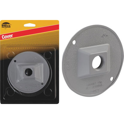 Picture of Bell 1-Outlet Round Zinc Gray Cluster Weatherproof Outdoor Electrical Cover, Carded