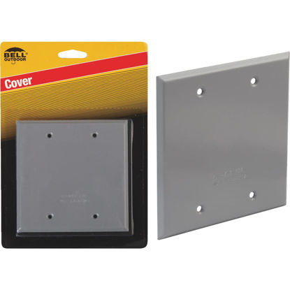 Picture of Bell 2-Gang Square Aluminum Gray Blank Weatherproof Outdoor Box Cover, Carded