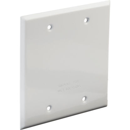 Picture of Bell 2-Gang Rectangular Aluminum White Blank Weatherproof Outdoor Box Cover