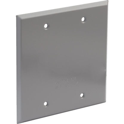 Picture of Bell 2-Gang Rectangular Aluminum Gray Blank Weatherproof Outdoor Box Cover