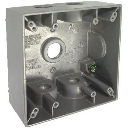 Picture of Bell 2-Gang 1/2 In. 5-Outlet Gray Aluminum Weatherproof Outdoor Outlet Box, Carded