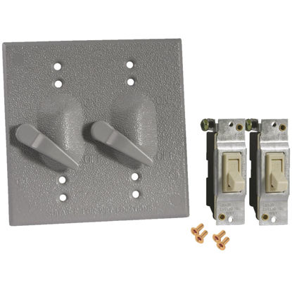 Picture of Bell 2-Toggle Vertical Mount Gray Weatherproof Electrical Cover with Switches