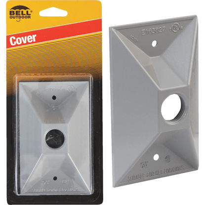 Picture of Bell 1-Outlet Rectangular Zinc Gray Cluster Weatherproof Outdoor Box Cover, Carded