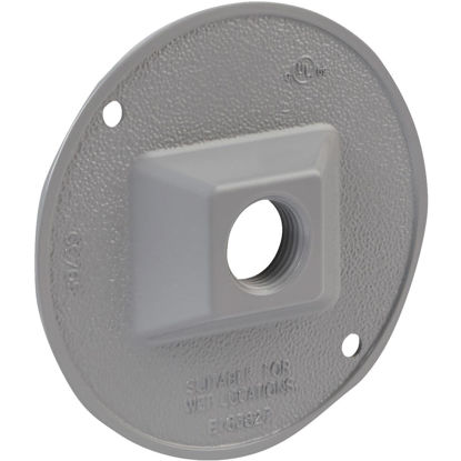 Picture of Bell 1-Outlet Round Zing Gray Cluster Outdoor Box Cover, Shrink Wrapped
