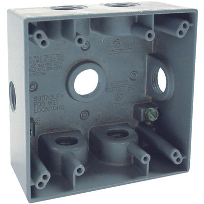 Picture of Bell 2-Gang 1/2 In. 7-Outlet Gray Aluminum Electrical Outdoor Outlet Box