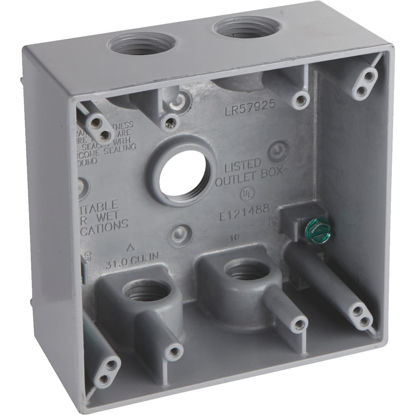 Picture of Bell 2-Gang 1/2 In. 5-Outlet Gray Aluminum Weatherproof Outdoor Outlet Box, Shrink Wrapped