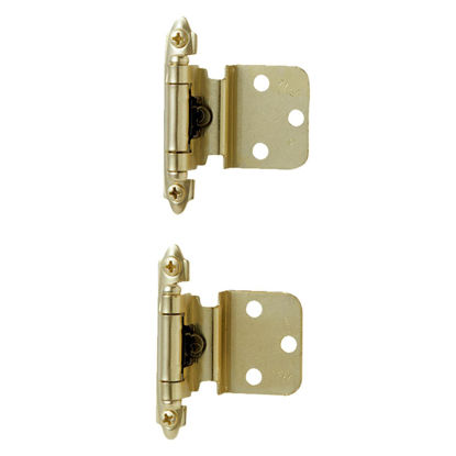 Picture of Amerock Polished Brass 3/8 In. Self-Closing Inset Hinge, (2-Pack)