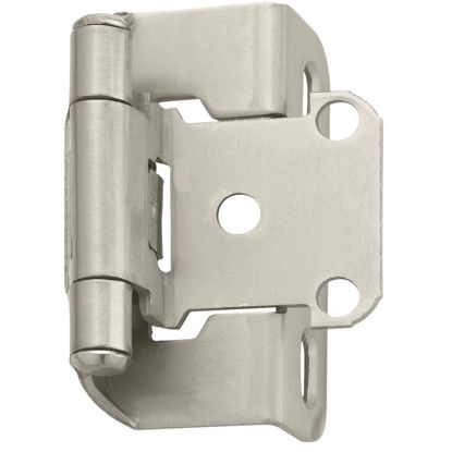 Picture of Amerock Satin Nickel Self-Closing Partial Wrap Overlay Hinge (2-Pack)