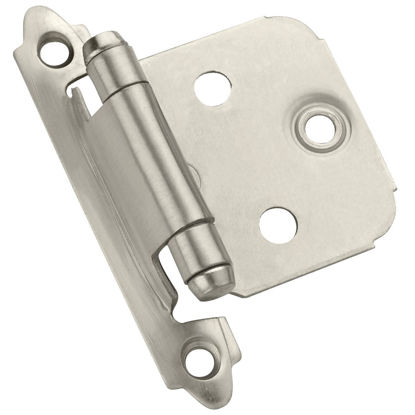 Picture of Amerock Satin Nickel Self-Closing Face Mount Overlay Hinge (2-Pack)