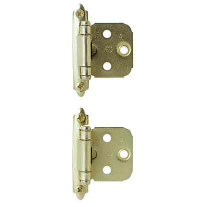 Picture of Amerock Polished Brass Self-Closing Face Mount Overlay Hinge (2-Pack)
