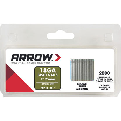 Picture of Arrow 18-Gauge Brown Steel Brad Nail, 1 In. (2000-Pack)