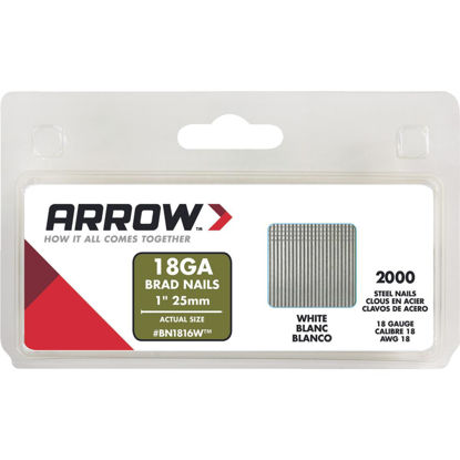 Picture of Arrow 18-Gauge White Steel Brad Nail, 1 In. (2000-Pack)