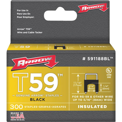 Picture of Arrow Insulated Black Cable Staple, 1/4 In. (300-Pack)