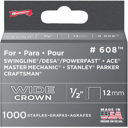 Picture of Arrow Heavy-Duty Wide Crown Staple, 1/2 In. (1000-Pack)