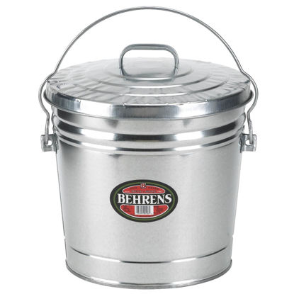 Picture of Behrens 10 Gal. Silver Galvanized Garbage Trash Can Pail with Lid