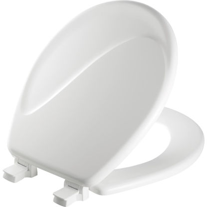 Picture of Mayfair Round Closed Front Designer Sculptured Wave White Wood Toilet Seat