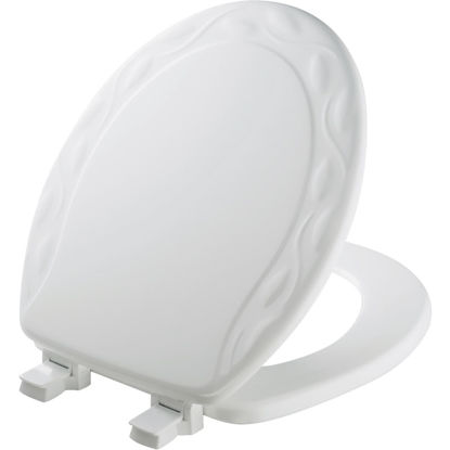 Picture of Mayfair Round Closed Front Designer Sculptured Ivy White Wood Toilet Seat