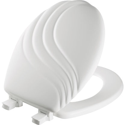 Picture of Mayfair Round Closed Front Designer Sculptured Swirl White Wood Toilet Seat