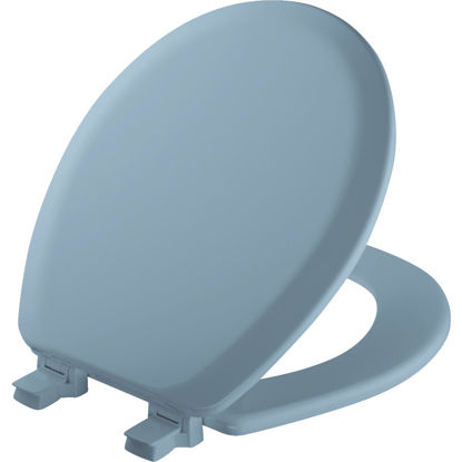 Picture of Mayfair Advantage Round Closed Front Blue Wood Toilet Seat
