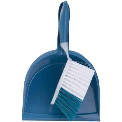 Picture of Blue Plastic Dust Pan & Brush Set