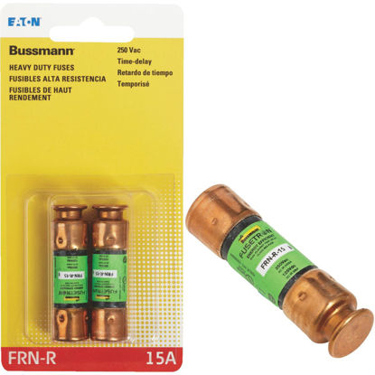 Picture of Bussmann 15A FRN-R Cartridge Heavy-Duty Time Delay Cartridge Fuse (2-Pack)
