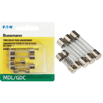 Picture of Bussmann 1/2A/1A/2A MDL/GDC Glass Tube Electronic Fuse (5-Pack)