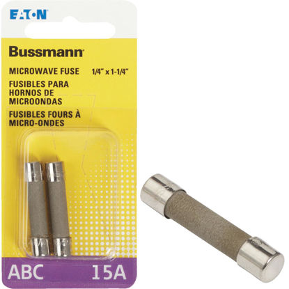 Picture of Bussmann 15A ABC Ceramic Tube Electronic Fuse (2-Pack)