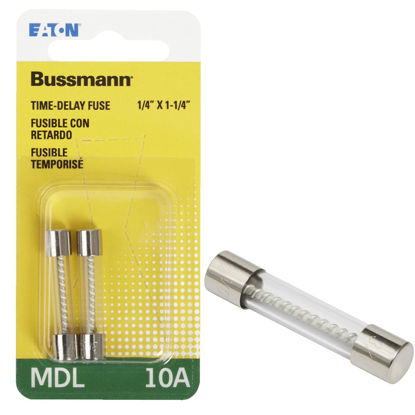 Picture of Bussmann 10A MDL Glass Tube Electronic Fuse (2-Pack)