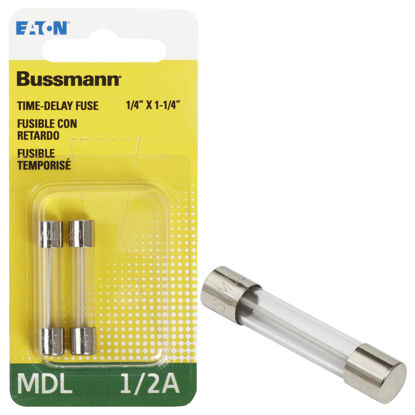 Picture of Bussmann 1/2A MDL Glass Tube Electronic Fuse (2-Pack)