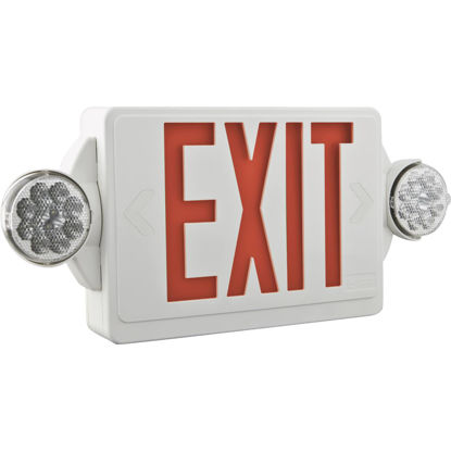 Picture of Lithonia Quantum Red Lettering Thermoplastic LED Exit Light with Emergency Lights