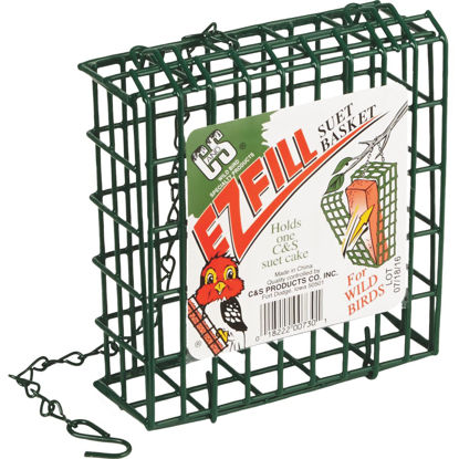 Picture of C&S EZ Fill Green 1-Cake Metal Suet Feeder